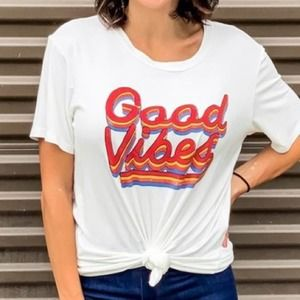 """Funky Pink Rainbow """"Good Vibes"""" Tie Front Top"""